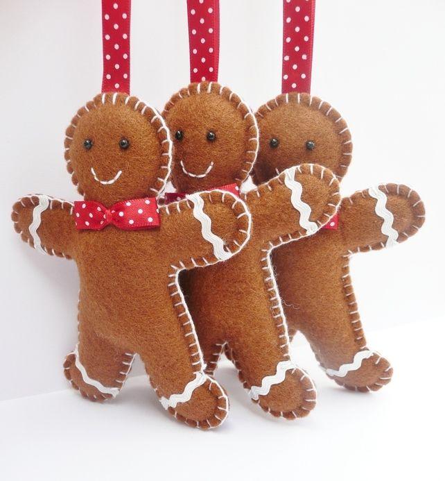 x3 Gingerbread Man Felt Christmas Decorations