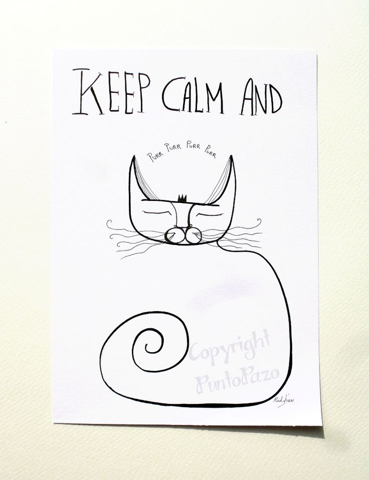 Keep calm and purr, Katzen Kunst, Cat Art