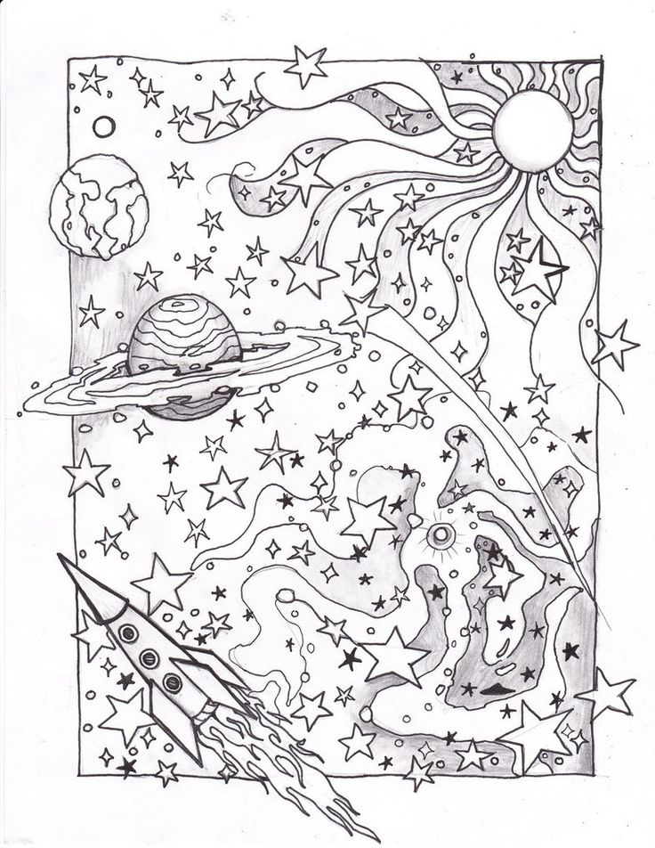 outer space coloring pages adult - Trippy Coloring Books