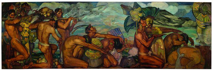 'Nuestros Dioses' del artista Saturnino Herrán, la cual fue creada entre 1914 y 1915 y posee medidas de 5.32 metros de largo por 1.76 de alto. La obra estaba destina a colgarse en los pasillos del Teatro Nacional, hoy convertido en Palacio de Bellas Artes.