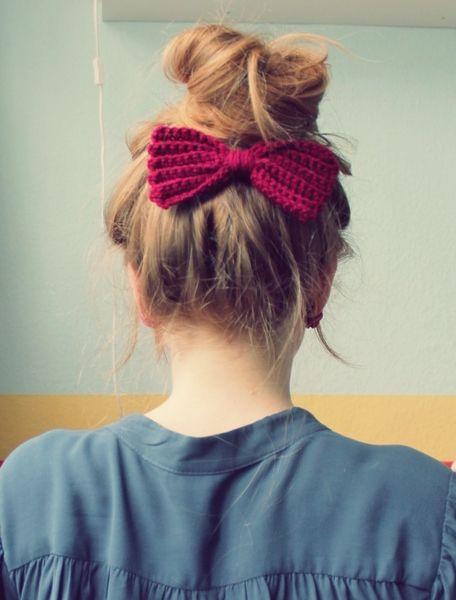 Schleife für's Haar ♥bordeaux♥ von Wollmauz auf DaWanda.com