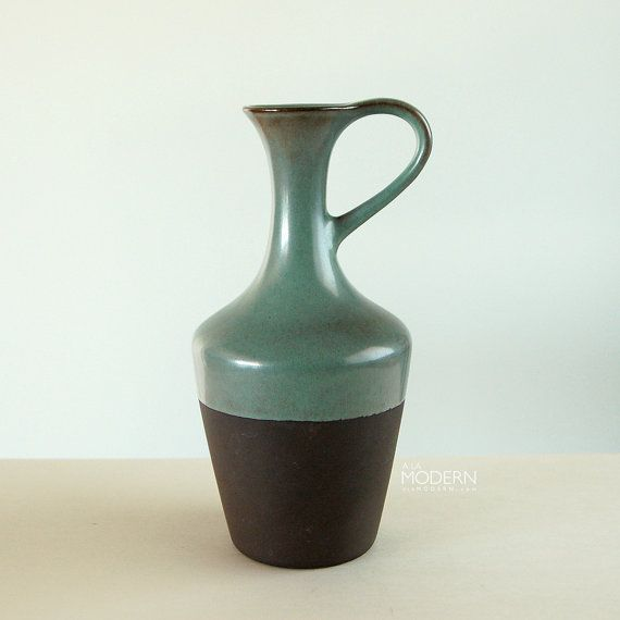 Knabstrup Denmark Pitcher Ewer Green Brown Vessel