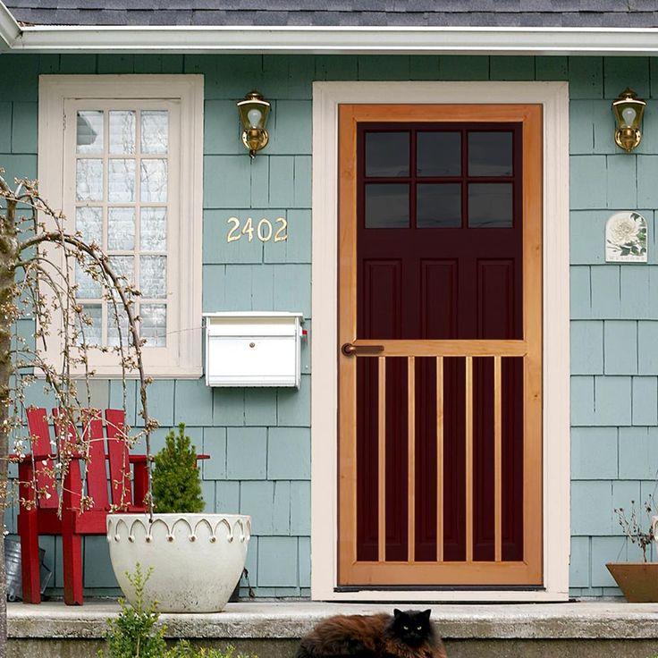 Kimberly Bay 31 75 In X 79 75 In Premium 5 Bar Stainable Screen Door Unfinished Wood Screen Door Wood Exterior Door Exterior Doors