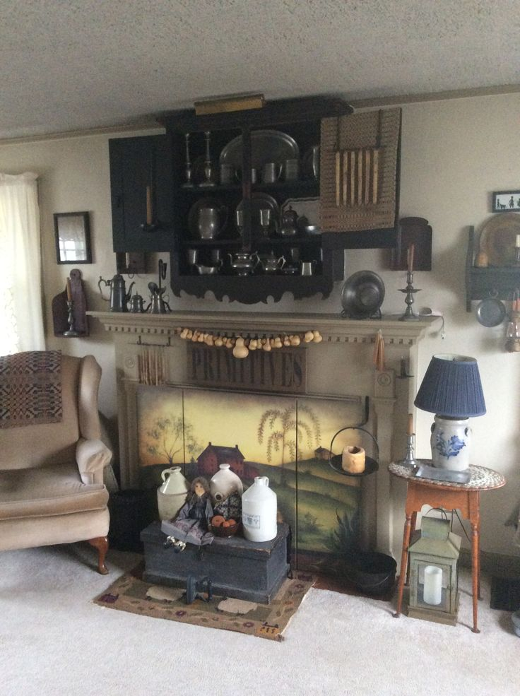 Living Room Fireplace American Country Pinterest