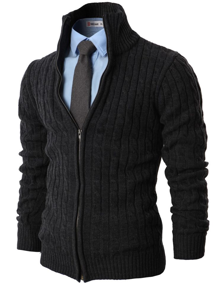MENS CASUAL KNITED CARDIGAN ZIP UP WITH TWISTED PATTERN (KMOCAL017) Charcoal