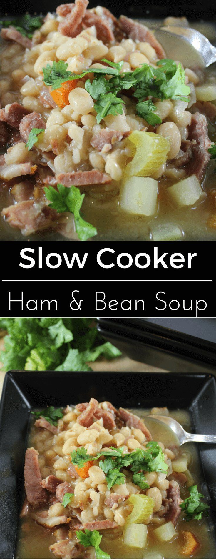 Slow Cooker Ham and Bean Soup with leftover ham
