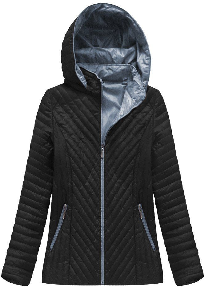 Pikowana Kurtka Z Kapturem Czarna Xb1501x Athletic Jacket Jackets Plus Size