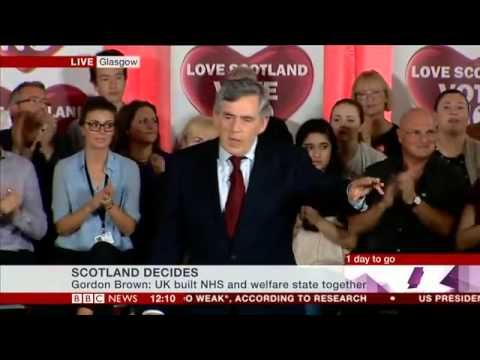 ▶ Gordon Brown's Better Together speech the day before the Scottish referendum - YouTube