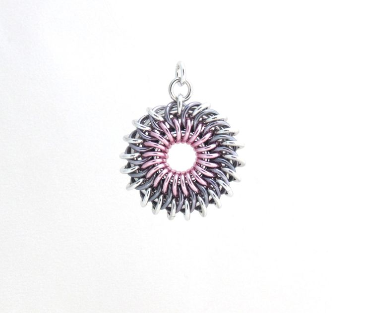 Sunburst Chainmaille Pendant, Pastel Jewelry, Multicolor Jump Ring Jewelry by XairianMaille on Etsy https://www.etsy.com/listing/195099469/sunburst-chainmaille-pendant-pastel