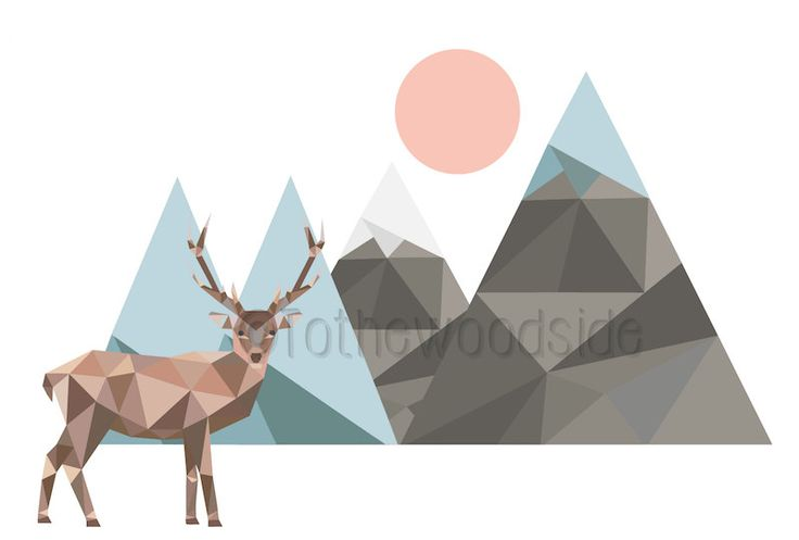 Low Poly Deer Print, Polygon Art, INSTANT DOWNLOAD, Geometric Art, Stag Print, Mountain Print, Antlers, Full Moon, Alaska, Nursery Decor by tothewoodside on Etsy
