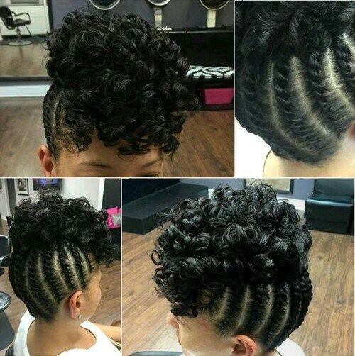 Cornrows Updo With A Curly Puff Natural Hair Updo Hair