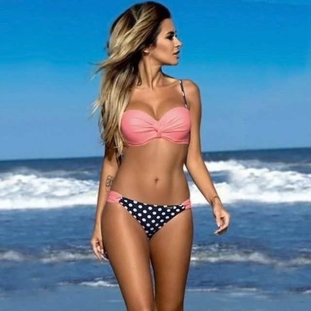 Women Bikini Flounces Swimming Bathing Suit Push up Padded Bandeau Bikinis Set Girls Swimwear Retro Swimsuit Dress Halter