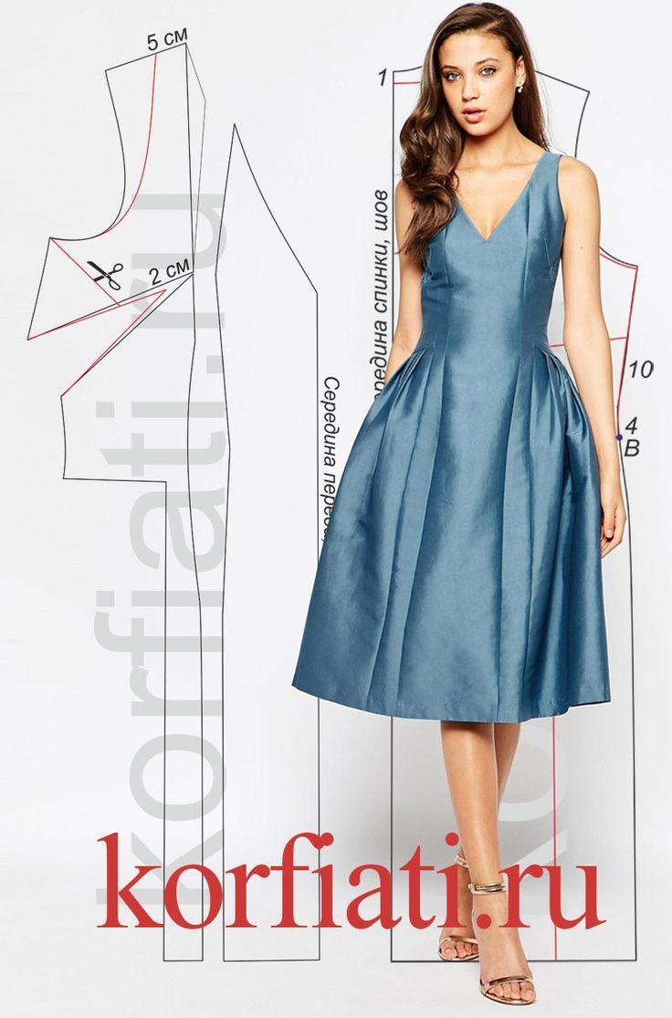 Выкройка платья с заниженной талией. Эффектное платье из переливчатой тафты имеет сложный крой, и с моделированием придется повозиться. Но, если вы хотите..