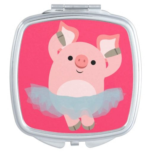 Cute Cartoon Ballerina Pig Compact Mirror. By Lioness_Graphics.