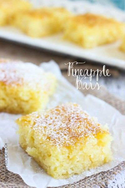 These Pineapple Bars are so light and full of crushed pineapple. Every bite will make your mouth happy