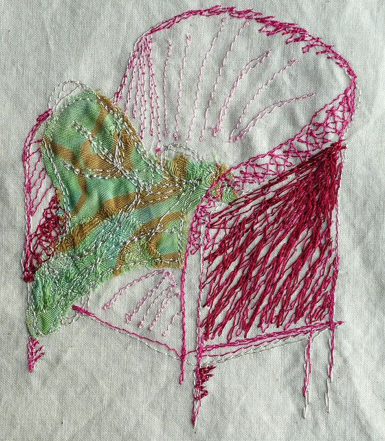 chair - by Fioa Dix - OCA Textiles 1, section 1, machine embroidered chair, from a sketch | Flickr - Photo Sharing!