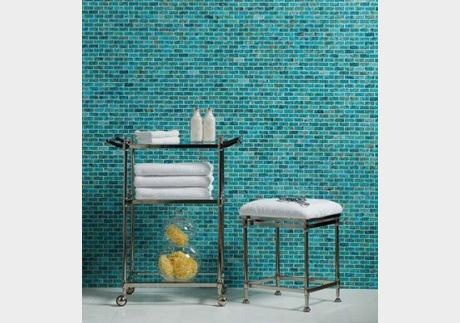 REAL turquoise tile! Stunning natural turquoise mosaic tile covering the wall of this spa.