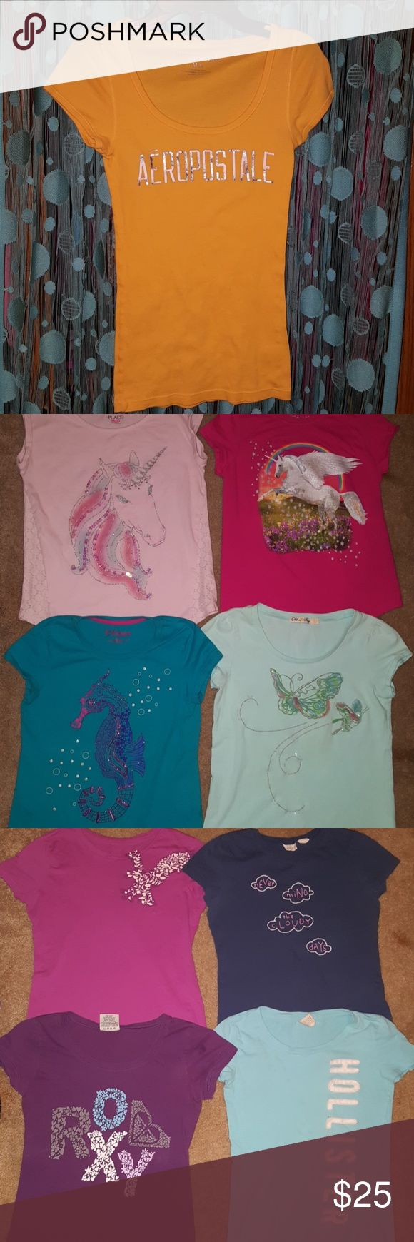14pc Shirt Lot Hollister, Aeropostale, DKNY & More 14 pc Lot of Girls Shirts Sale is for all 14 DKNY, Mudd, American Eagle, Hollister, Aeropostale,  Abercrombie and Fitch,  Roxy, Old Navy & A Children's Place.  Sizes are a girls Medium or Large or Juniors Sm that fit small like a girls Large. Various Shirts & Tops
