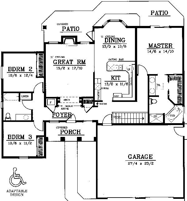 One-Story Style House Plan 91814 with 3 Bed , 2 Bath , 2