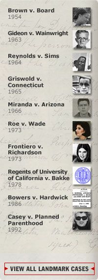 The Supreme Court . Expanding Civil Rights . Landmark Cases . Roe v. Wade (1973)   PBS