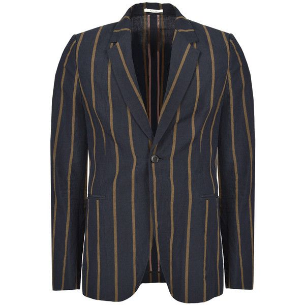Paul Smith School Boy Stripe Linen Single-Button Blazer (3,170 EGP) ❤ liked on Polyvore featuring men's fashion, men's clothing, men's sportcoats, mens navy blue blazer, mens blazer jacket, mens blazers, mens apparel and mens striped blazer