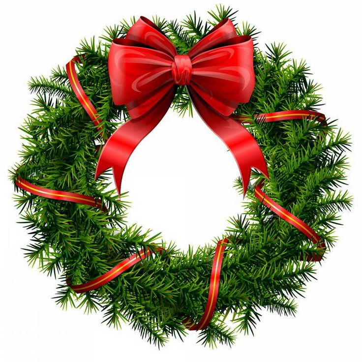 Outdoor Christmas Decorations Clipart: Elegant Christmas Wreath With Stars And Bow. Description