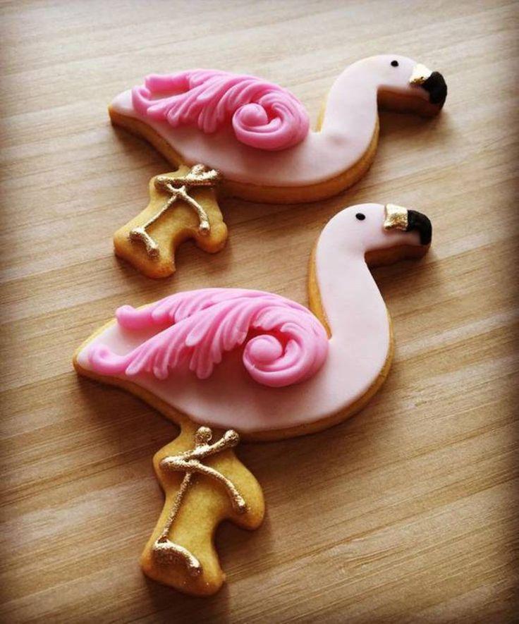 Biscuits flamant rose en relief
