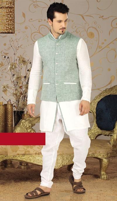 white pista green linen bandhgala pathani kurta suit
