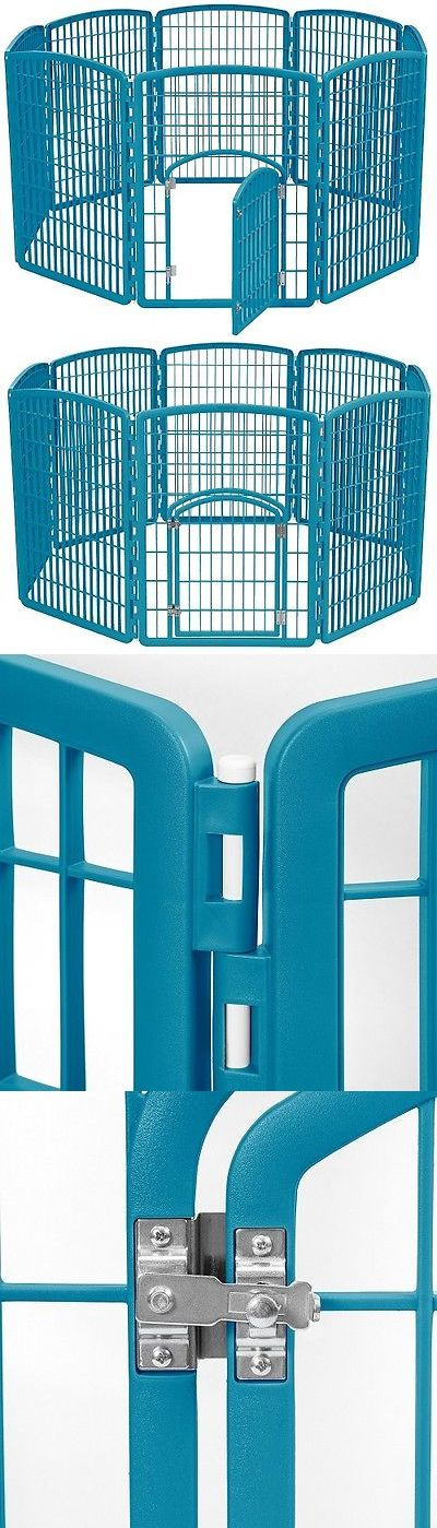 Fences and Exercise Pens 20748: Pet Exercise Pen 8 Panel Blue Heavy Duty Plastic Dog Kennel Puppy Folding Crate BUY IT NOW ONLY: $85.84