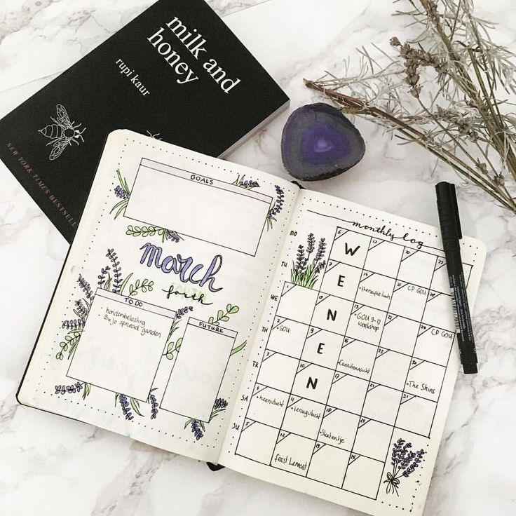 New month. When nothing else is going well at least my BuJo is on fleek.  #bujo #bujojunkies #bulletjournal #bulletjournaling #bujomonthly #monthlyspread #planneraddict #planner #drawing #bohoberrytribe #lavender #rupikaur #poetry #crystals #spiritual #witch #vienna #trip #depression #anxiety