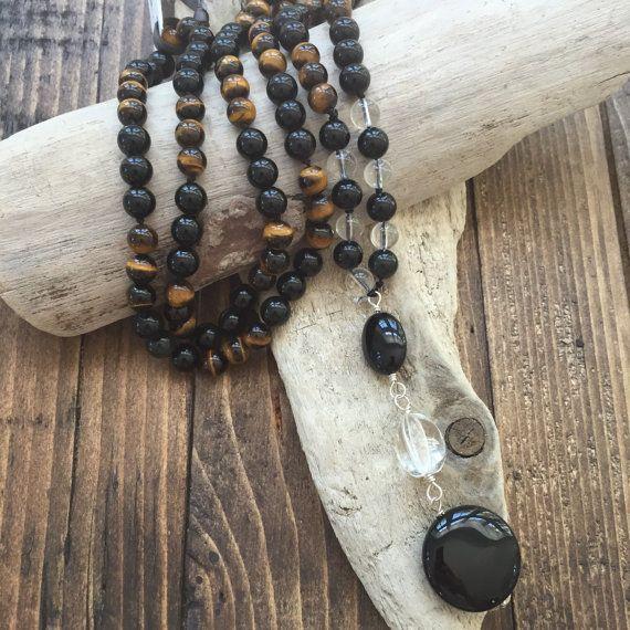 Confident Mala, 108 Mala Beads, Tiger Eye, Onyx, Yoga Necklace, Boho Jewelry, Mala Necklace, Mens  Mala Neckace, Mala for Him