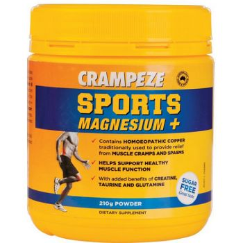Crampeze Sports Magnesium + Powder helps support healthy muscle function.  Crampeze Sports Magnesium + Powder provides relief from muscle cramps and spasms.