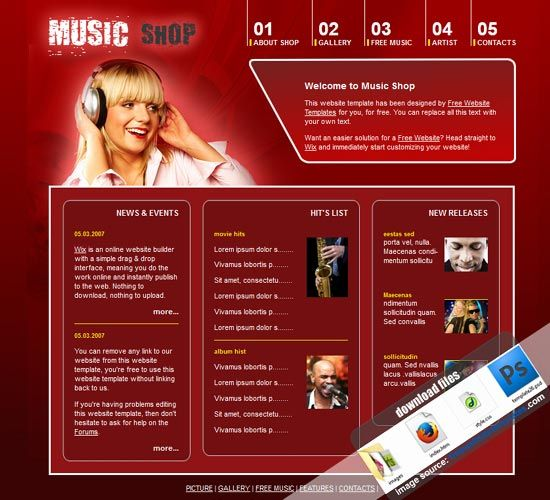 9 best free psd website templates images on pinterest about the music shop website template music shop entertainment small business website free website pronofoot35fo Choice Image