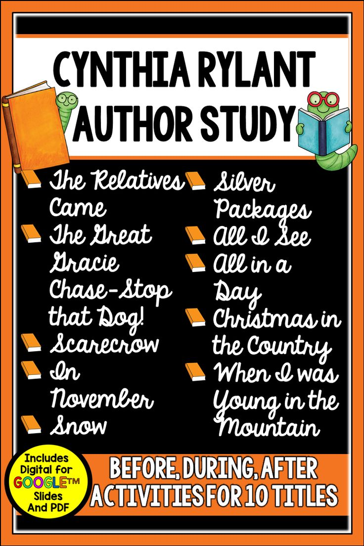Author Study: Cynthia Rylant Unit for 1st - 3rd Grade ...