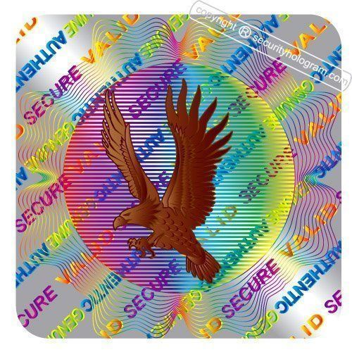 """169 3D Square """"Flying Eagle"""" Stickers Protective Security Holograms Tamper Evident 0.39"""" x 0.39""""(10mm x 10mm) by Security Hologram®. $11.99. Our Famous """"Flying Eagle"""" small 10 mm Square security hologram. Beautifully made Eagle actually moves wings when hologram moves. Set of 169 Self adhesive tamper evident hologram stickers. May be used on various surfaces to protect, secure and authenticate your items. Security Holograms are on sheets. Remove from the liner and apply securit..."""