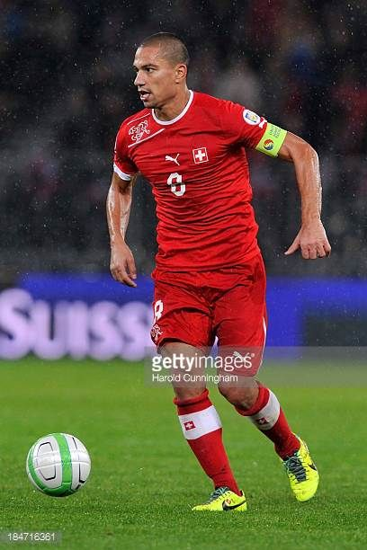 Gokhan Inler of Switzerland in action during the FIFA 2014 World Cup Qualifier match between Switzerland and Slovenia match held at Stade de Suisse...