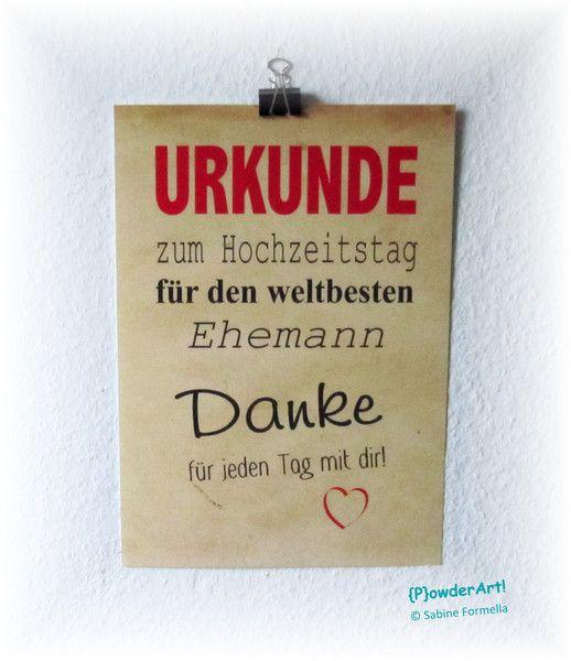 Bild Urkunde WELTBESTER EHEMANN No1 Druck A4 von {P}owderArt! auf DaWanda.com