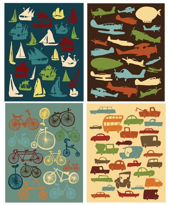 Kids Room Decor I Love Cars Bikes Airplanes & by ParadaCreations