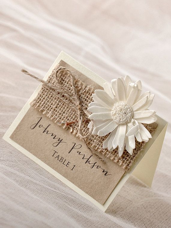 Rustic Place Cards 20 Burlap Place cards Craft by forlovepolkadots