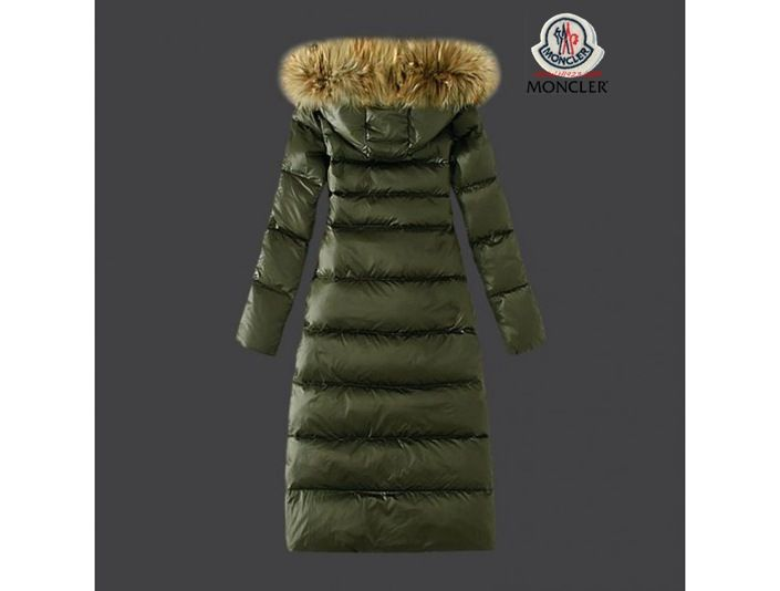 sale moncler damen schicke gr ne lange daunen mantel pelz kragen 117cm official website. Black Bedroom Furniture Sets. Home Design Ideas