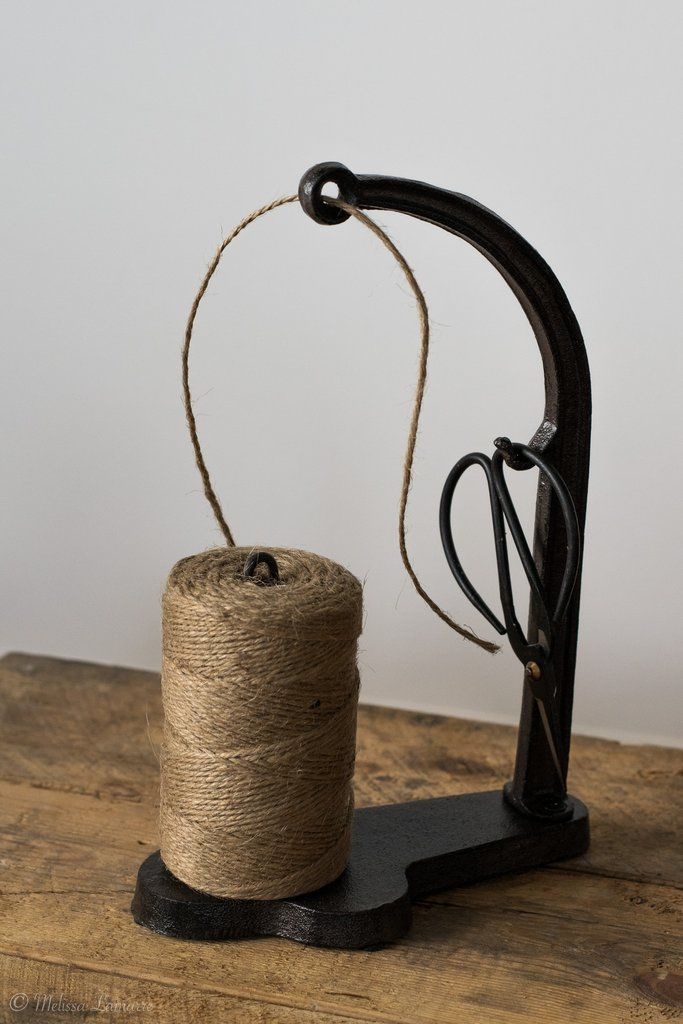Cast Iron Twine Holder and Scissors
