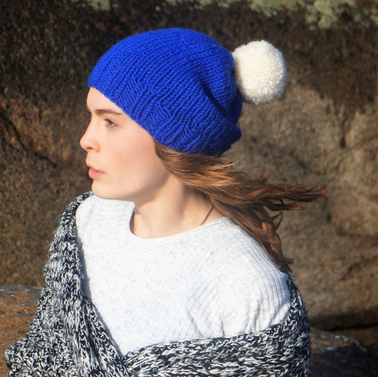 royal blue knit slouchy beanie,blue slouchy unisex hat,blue chunky woman beanie,navy pom pom knit hat,knit blue toque,gift for her and him by PocoLocoKnitting on Etsy