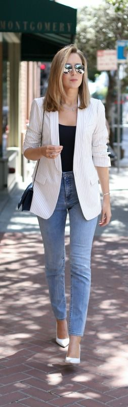 white pinstripe blazer, light wash high-waisted jeans, navy tank, white pointed toe pumps, navy crossbody bag + mirrored aviator sunglasses {bcbg, cheap monday, j. crew, sjp collection, phillip lim}