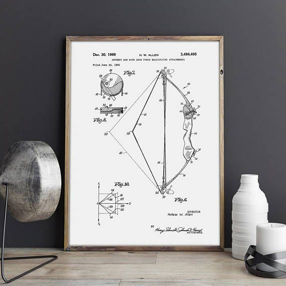 Archer art Patent print bow and arrow Art Print patent poster sports wall art vintage sports Archery Bow art Hunting Gifts sports decor