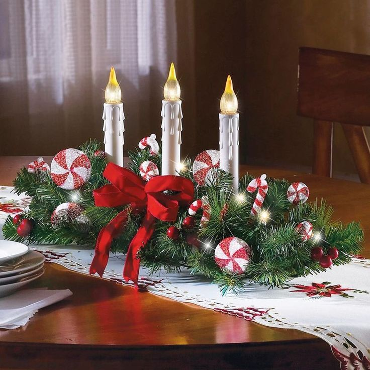 Candy Cane Centerpiece W/ 3 Candles Christmas Holiday
