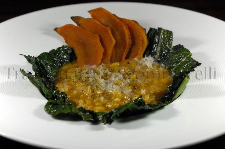Le mie ricette - Risotto alla zucca mantovana e castagne, con brodo di cavolo nero e parmigiano