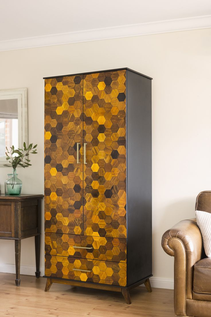 Honeycomb wardrobe by Kristine Franklin @thepaintedhive #feastwatson #relove #upcycling @salvosstores