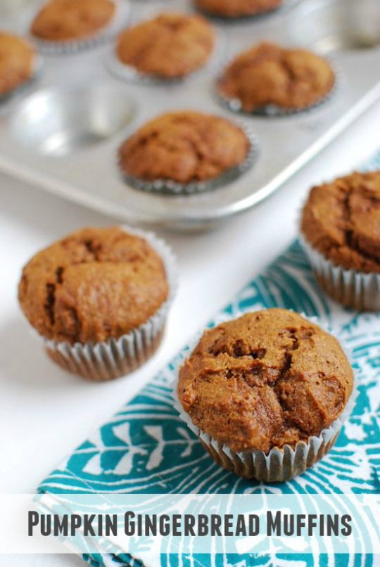 Fall and Winter flavors unite in these Pumpkin Gingerbread Muffins ...