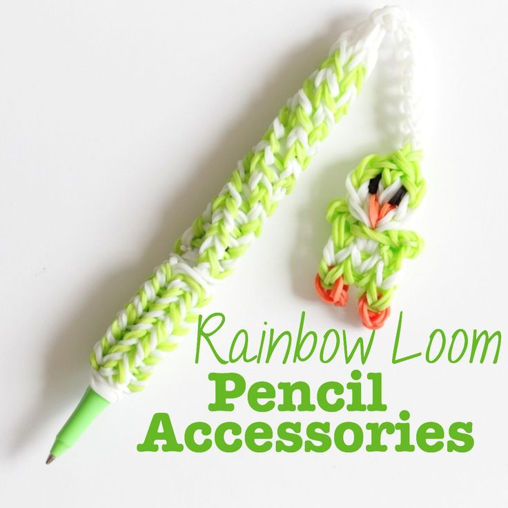 Rainbow Loom: Pen Accessories - a collection of cute things to make with your rainbow loom and add to your pens and pencils