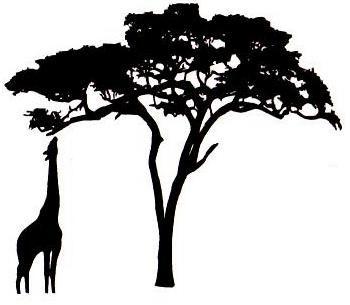 African Textile Circle Giraffe Amp Acacia Silhouette To